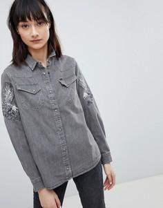 Джинсовая рубашка с вышитым орлом Wrangler - Серый