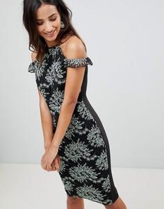 Платье-футляр с контрастным кружевом и вырезами на плечах AX Paris - Мульти