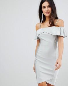 Многослойное платье миди AX Paris - Серебряный