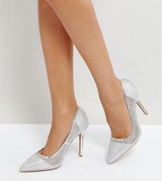 Туфли на высоком каблуке с острым носком и сетчатой отделкой Qupid - Серебряный
