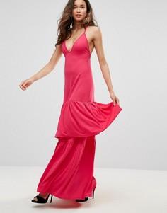 Платье макси с глубоким вырезом Club L - Красный