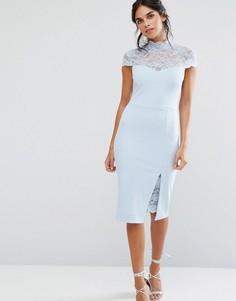 Платье-футляр с кружевной кокеткой City Goddess - Синий