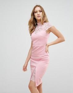 Платье-футляр с кружевной кокеткой City Goddess - Розовый