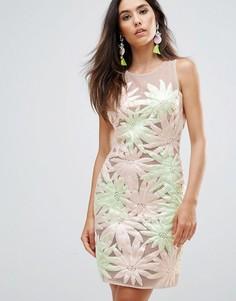 Платье без рукавов с цветочной аппликацией Forever Unique - Мульти