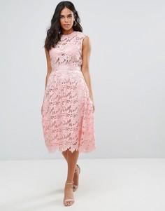 Кружевное платье миди Forever Unique - Розовый