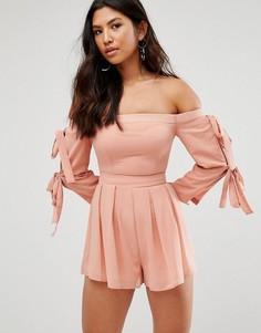 Ромпер с открытыми плечами и завязками на рукавах Girl In Mind - Розовый
