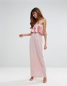 Платье макси с оборкой спереди Oh My Love - Розовый