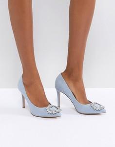 Туфли на высоком каблуке с заостренным носком и камнями Miss KG - Синий