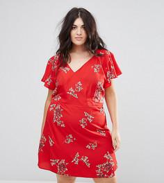 Платье с запахом и цветочным принтом AX Paris Plus - Красный
