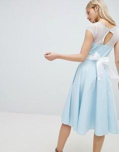 Платье для выпускного в стиле 50-х с бантом Hell Bunny - Синий