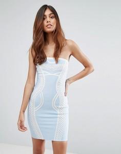 Облегающее бандажное платье с контрастной отделкой Love & Other Things - Синий