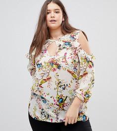 Блузка с цветочным принтом и оборками Lovedrobe - Мульти