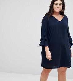 Свободное платье с оборками Lovedrobe - Темно-синий