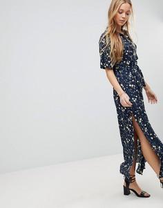 Платье макси с цветочным принтом и разрезом Liquorish - Темно-синий