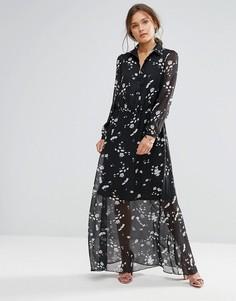 Платье макси с цветочным принтом и длинными рукавами Liquorish - Черный