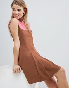 Платье с контрастной кокеткой и складками Louche - Коричневый