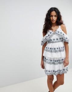 Платье с вышивкой и оборками RD & Koko - Белый