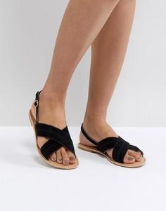 Замшевые сандалии на плоской подошве Park Lane - Черный