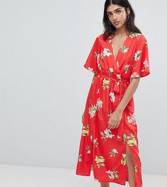Платье миди с запахом, разрезами и цветочным принтом Influence Tall - Красный