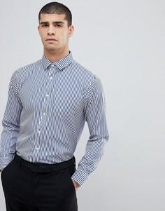 Черная рубашка в полоску с длинными рукавами Process - Темно-синий