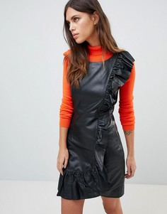 Кожаное платье с оборками Y.A.S - Черный