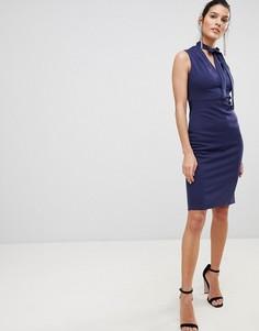 Платье миди с V-образным вырезом и завязкой на шее City Goddess - Синий