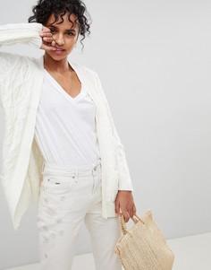 Вязаный кардиган из шерсти альпака с узором косы Pepe Jeans - Кремовый