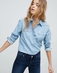 Джинсовая рубашка классического кроя в стиле вестерн Lee - Синий