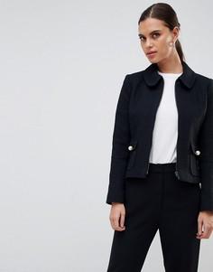 Куртка на молнии с закругленным воротником Helene Berman - Черный
