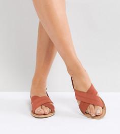 Замшевые сандалии для широкой стопы на плоской подошве Park Lane - Оранжевый