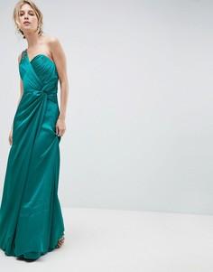 Платье макси на одно плечо со сборками Little Mistress - Синий