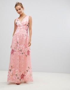 Кружевное платье макси с вышивкой Little Mistress - Розовый