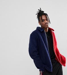 Сине-красная куртка из искусственного меха Reclaimed Vintage Inspired - Темно-синий