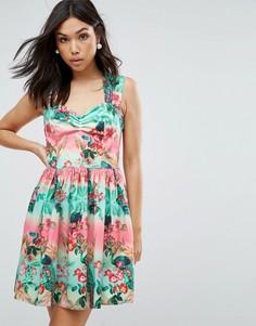 Короткое приталенное платье с принтом Hell Bunny - Зеленый
