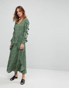 Платье макси с цветочным принтом и оборками Liquorish - Зеленый