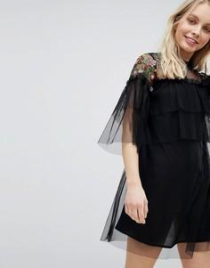 Платье с вышивкой Influence - Черный