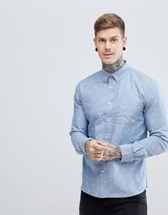 Рубашка из шамбре с принтом бумажных самолетиков Hymn - Синий