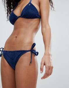 Бархатные плавки-бикини с завязками по бокам Juicy Couture - Темно-синий