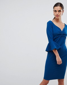 Платье миди с вырезом сердечком и рукавами клеш City Goddess - Синий