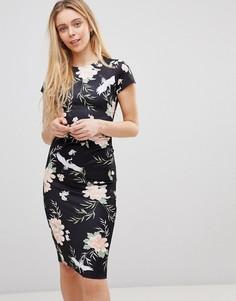 Платье миди с птичьим принтом Girls on Film - Черный