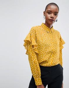 Блузка в горошек с оборками Selected - Желтый