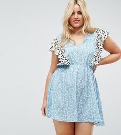 Платье с комбинированным принтом и оборками Influence Plus - Мульти