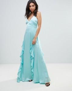 Платье макси с каскадной драпировкой Y.A.S Elizabeth - Синий