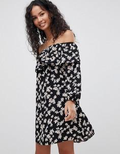 Платье с открытыми плечами и цветочным принтом Glamorous - Черный