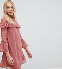 Шифоновое платье с оборками Influence Tall - Розовый