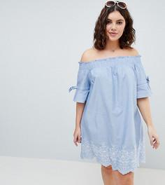 Платье с открытыми плечами, присборенными рукавами и вышивкой Influence Plus - Синий