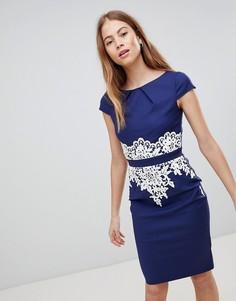 Темно-синее платье с кружевной отделкой Paper Dolls - Темно-синий