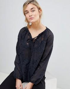 Кружевная блузка с воротом на завязке See U Soon - Черный