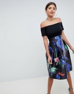 Приталенное платье миди два в одном с цветочным принтом AX Paris - Черный