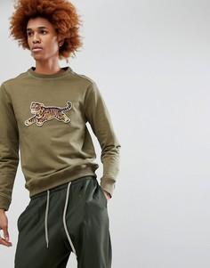 Свитшот с круглым вырезом и вышивкой тигра Maharishi - Зеленый
